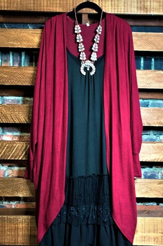 LET'S COZY UP SOFT FLEECE SWEATER CARDIGAN IN BURGUNDY