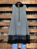 TOUCH OF MAGIC LACE SLIP DRESS TOP IN BLACK MIX ----------sale