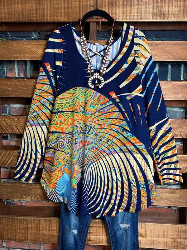 MY PRETTY PRINT TUNIC LONG SLEEVE IN MULTI-COLOR 3X 4X 5X