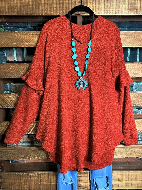 FOR YOUR LOVE ONLY SWEATER TUNIC TOP IN RED RUBY MIX 1X 2X 3X