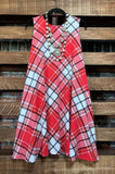 SEASONS OF THE HEART PLAID DRESS IN CORAL & IVORY 14 - 26
