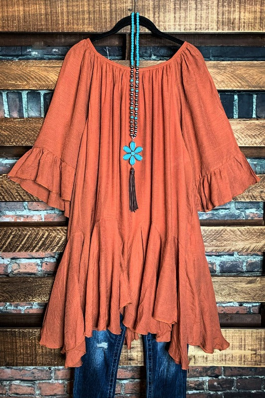 FREE SOUL SWING OVERSIZED DRESS IN RUST