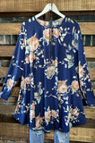 TALK ABOUT LOVE FLORAL TUNIC IN NAVY BLUE 1X 2X 3X