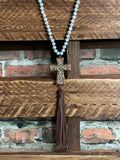 RUSTIC SHINY CROSS TASSEL NECKLACE IN BROWN & WHITE