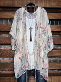 MADE TO PERFECTION LACE & FLORAL CARDIGAN KIMONO IN BEIGE
