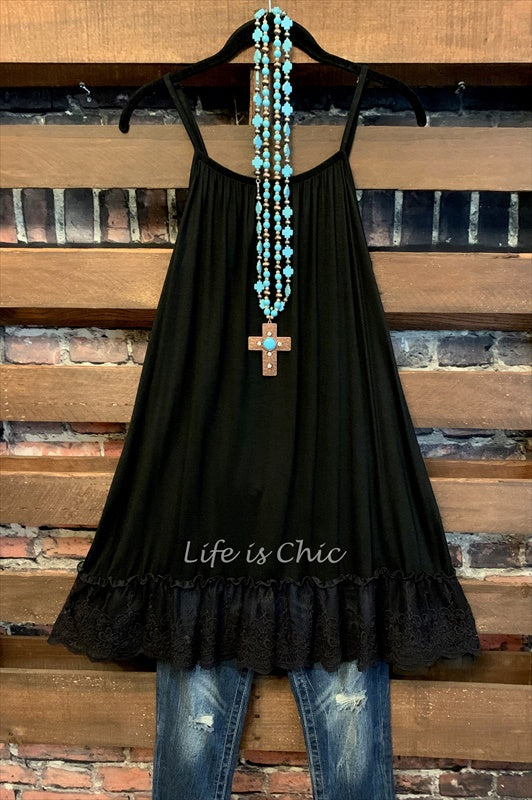 SO THIS IS LOVE LACE RUFFLE SLIP DRESS EXTENDER - BLACK