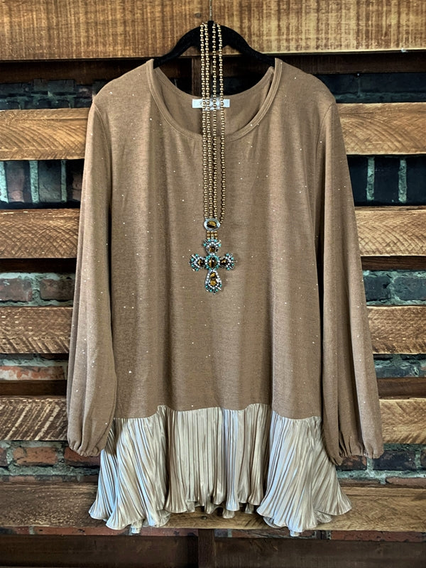 Sparks Glamour HOLIDAY Tunic/Blouse in Brown Mocha Regular & Plus size,
