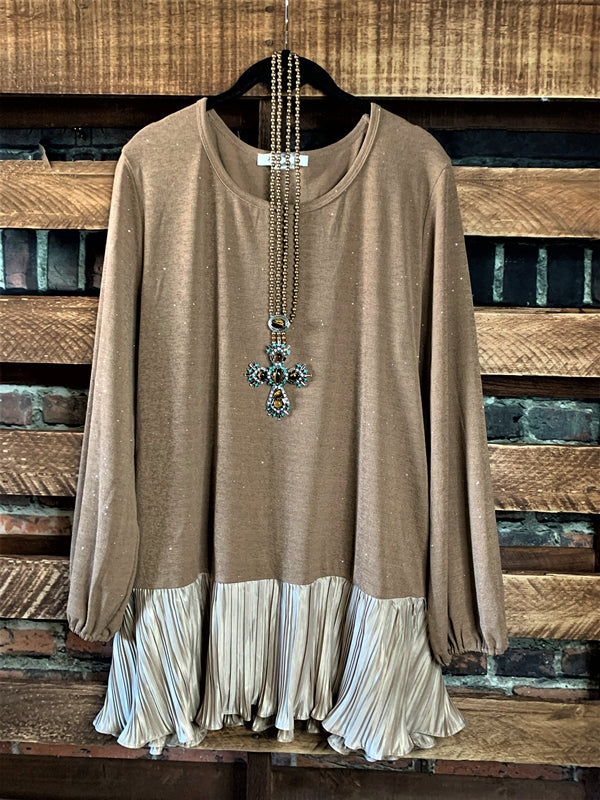 Glamour Sparkle Blouse in Mocha Size Small S - 2X------sale