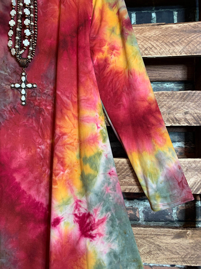 Forever Joyful Tie Dye Dress in Multi-Color  2X 3X 4X 5X