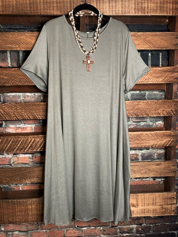 JUST THE SIMPLE THINGS DRESS WITH POCKETS IN DUSTY OLIVE 3X 4X 5X