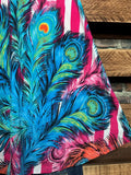 PEACOCK FEATHERS PRINT MULTI-COLOR SLEEVELESS DRESS