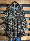 WARM FEELINGS FAB LEOPARD PRINT SWEATER DRESS IN BROWN & BLACK----------sale