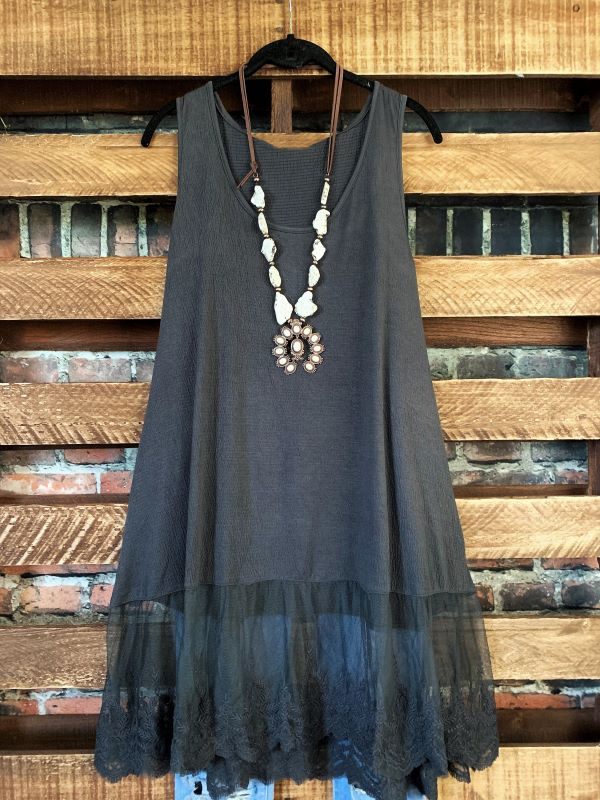 TOUCHED BY LOVE LACE TANK SLIP DRESS TOP IN ASH CHARCOAL