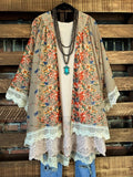 VINTAGE INSPIRATION PRETTY FLORAL CROCHET CARDIGAN IN TAUPE