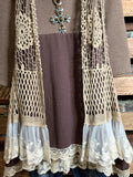 ALWAYS BE ADORABLE & FASHION DRESS IN TAUPE & BROWN----------sale