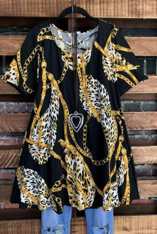 A HEART OF GOLD PRINT TUNIC IN BLACK