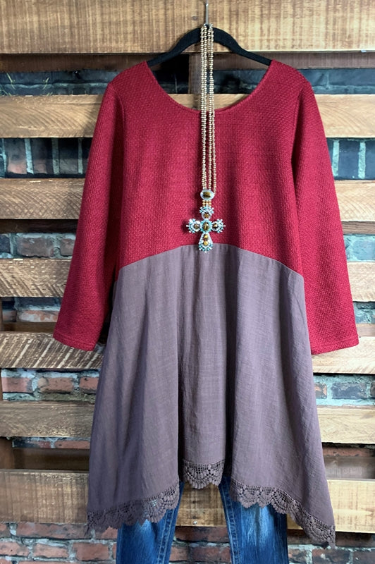 BE THE BEST EMPIRE WAIST DRESS TUNIC BROWN & CRIMSON---------------SALE