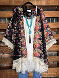 Living In A Dream Vintage Inspired Black & Floral Kimono
