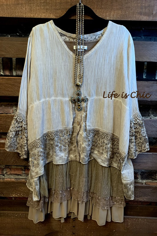 LE SECRET D'AMORE LACE FRINGE TUNIC IN TAUPE
