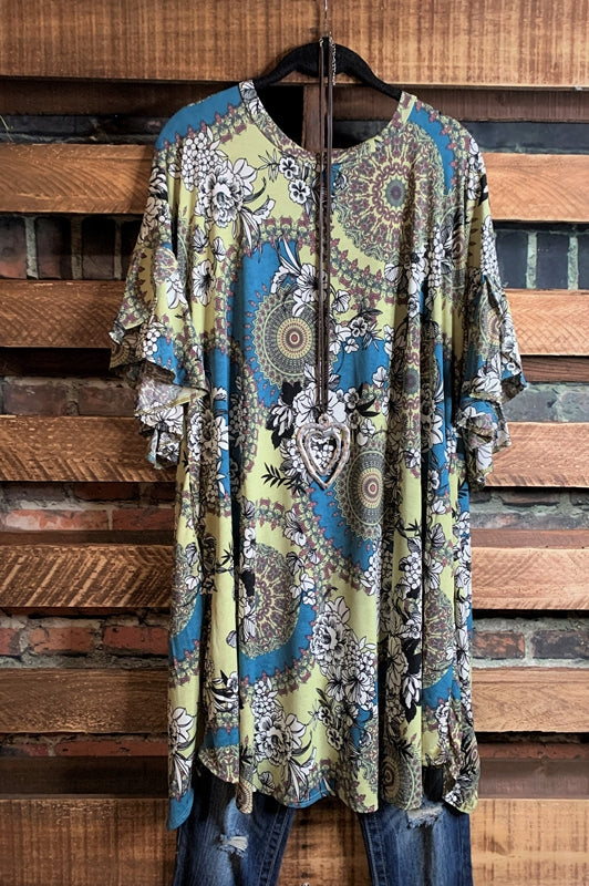 BRING ME A NEW DREAM MANDALA DRESS IN TEAL SAGE