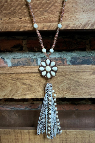 GYPSY BOHO TASSEL NECKLACE SET IN IVORY TURQUOISE