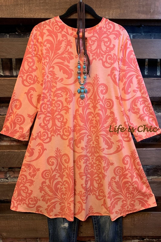 BEST OF ME DAMASK PRINT PEACH/PINK