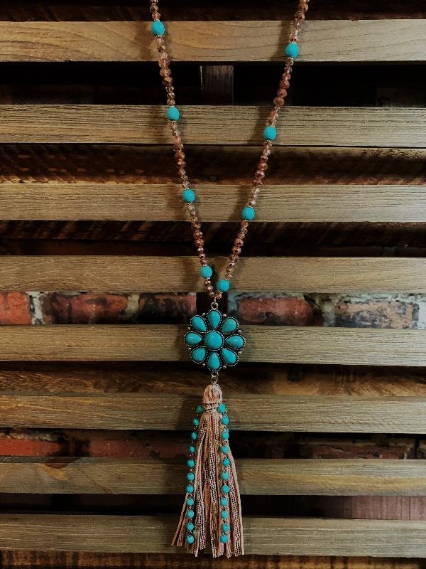 VINTAGE INSPIRED ROMANCE FLOWER SET NECKLACE TURQUOISE