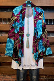 ALWAYS PRETTY FLORAL CARDIGAN JACKET IN TURQUOISE