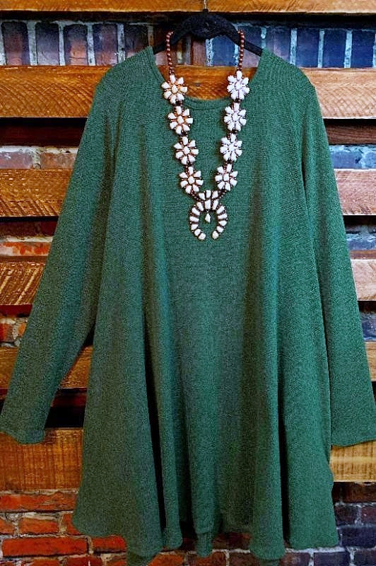 FOR YOUR LOVE ONLY SWEATER DRESS IN OLIVE GREEN 3X 4X 5X