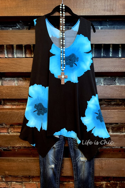 DESTINATION GORGEOUS FLORAL TUNIC IN BLACK & TURQUOISE