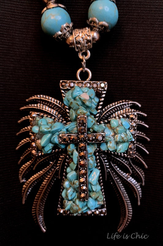 GYPSY MYSTIC ANGEL CROSS NECKLACE IN TURQUOISE
