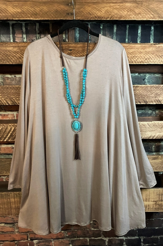 DOWNTOWN DARLING CASUAL LONG SLEEVE COMFY DRESS IN TAUPE 3X 4X 5X