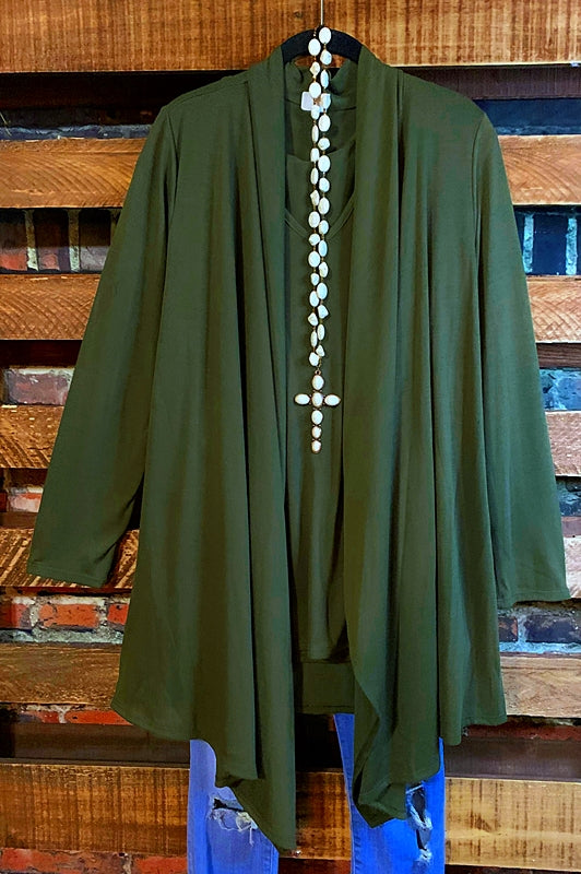 SIMPLY PERFECT 2 PCS SET CARDIGAN AND TANK TOP MATCH IN OLIVE