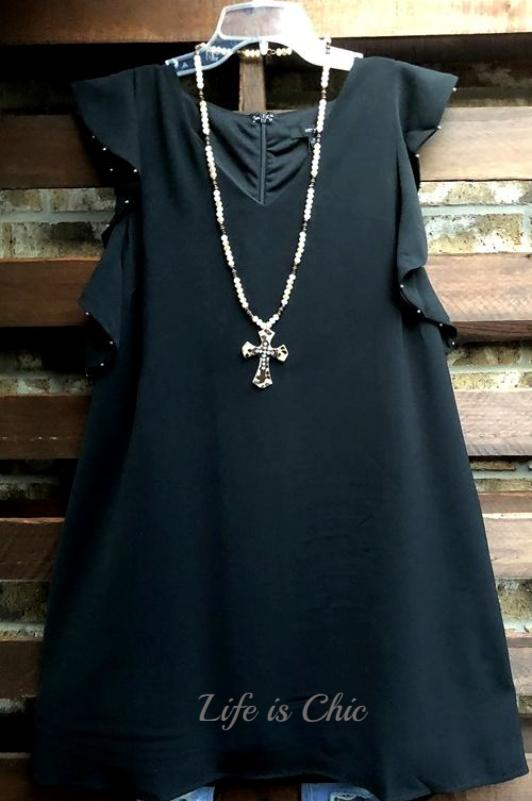 FAB EMBELLISHED DETAIL TUNIC IN BLACK [product vendor] - Life is Chic Boutique