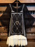 GYPSY MOON CROCHET & LACE SHEER TUNIC IN BLACK