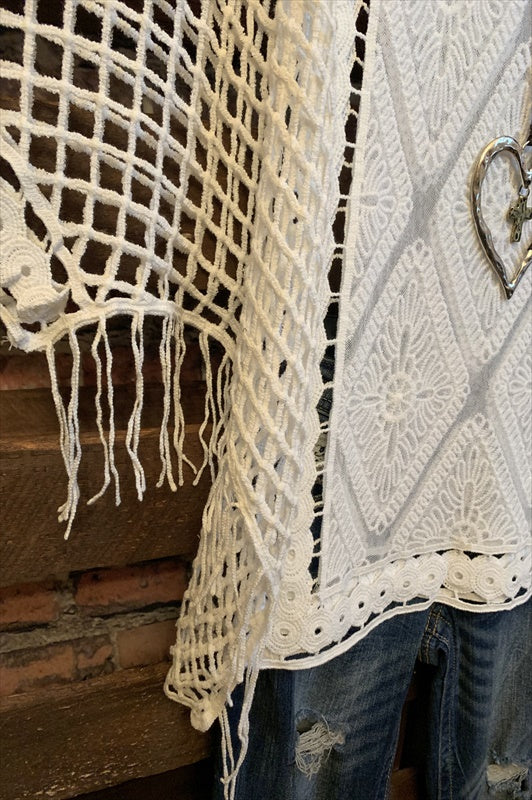 GYPSY MOON CROCHET & LACE SHEER TUNIC IN WHITE