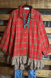 AS CUTE AS THEY COME LACE PLAID SHIRT TUNIC OVERSIZED IN RED
