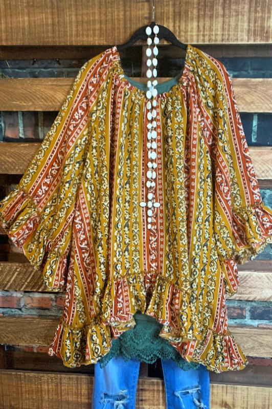 SHABBY BOHEMIAN SWING OVERSIZED TUNIC IN MUSTARD & MULTI-COLOR