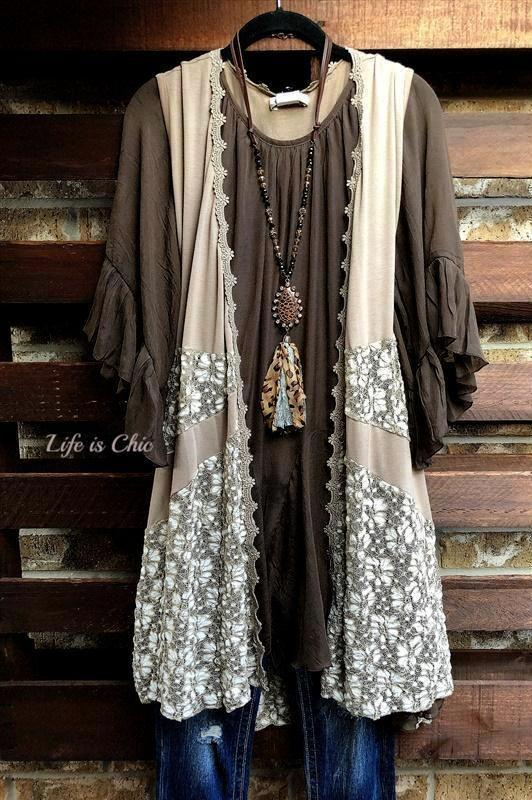 DAYS GONE BY LACE VEST IN TAUPE