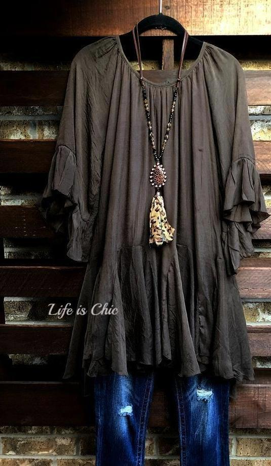 BOHO- HIPPIE SWING OVERSIZED PEASANT COMFY TUNIC MINI DRESS IN BROWN