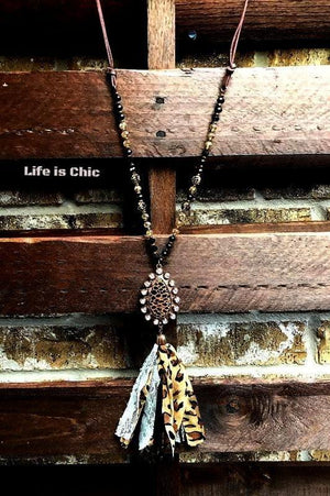 FAB LEOPARD RHINESTONE TASSEL NECKLACE BLACK [product vendor] - Life is Chic Boutique