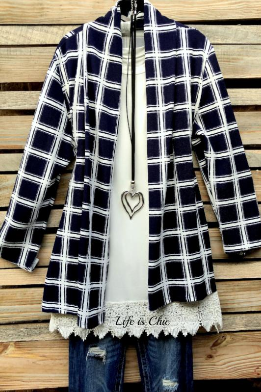 PLAID CLASSIC LIGHTWEIGHT CARDIGAN IN NAVY MIX [product vendor] - Life is Chic Boutique