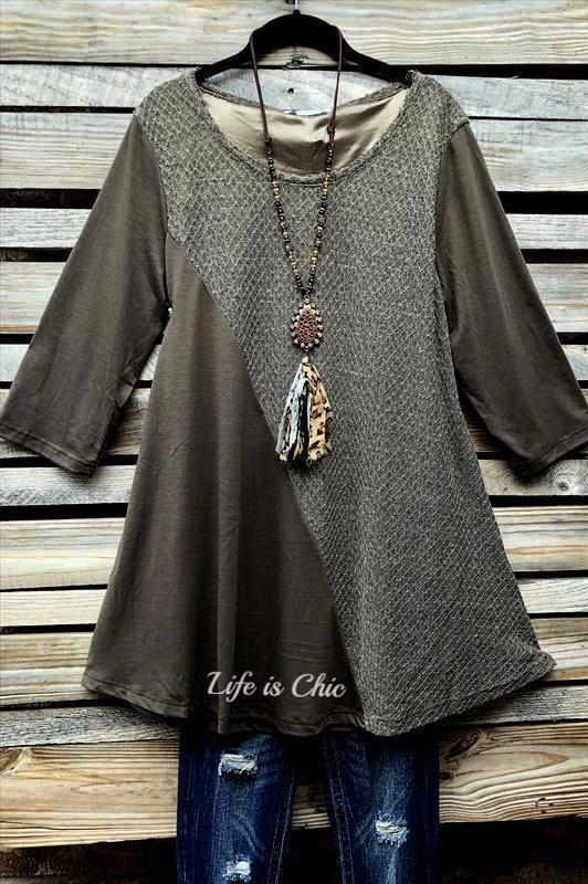 MY FANCY T-SHIRT TUNIC IN MOCHA [product vendor] - Life is Chic Boutique