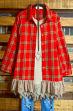 AS CUTE AS THEY COME LACE PLAID SHIRT TUNIC OVERSIZED IN RED----------SALE