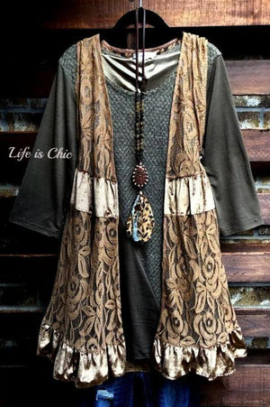 A PERFECT WISH RUFFLE LACE SLEEVELESS VEST IN MOCHA [product vendor] - Life is Chic Boutique