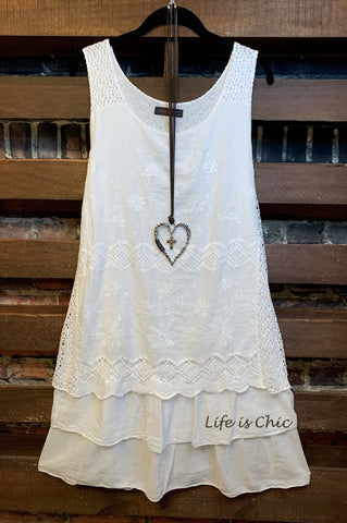 WHEREVER YOU GO WHITE SLEEVELESS DRESS