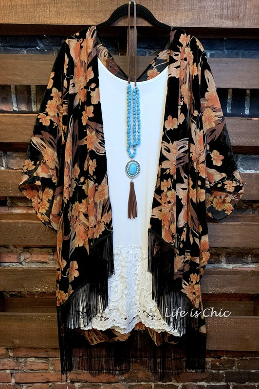 CHARM YOUR WAY FAB BOHO FRINGE BURNOUT VELVET FLORAL KIMONO