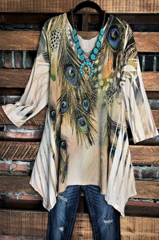 PEACOCK FEATHERS CRYSTAL & MULTI-COLOR PRINT TUNIC IN BEIGE