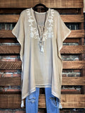 FEEL FREE HAND EMBROIDERED 100% COTTON TUNIC IN PARCHMENT