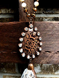 FAB LEOPARD RHINESTONE TASSEL NECKLACE WHITE [product vendor] - Life is Chic Boutique